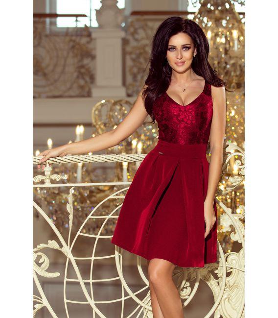 208-3 Sukienka z koronkowym dekoltem i kontrafałdami - BORDOWA