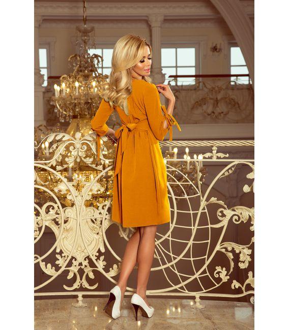 195-6 ALICE Sukienka z kokardkami - MUSZTARDA
