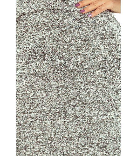 161-14 AGATA - Sukienka z kołnierzykiem - ciepły sweterek - GRAFIT MELANŻ