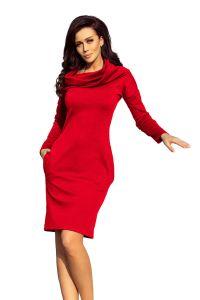 131-9 Ciepła sukienka z kieszeniami i GOLFEM - CZERWONA