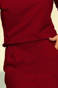 189-5 Sukienka dresowa z dekoltem na plecach - BORDOWA