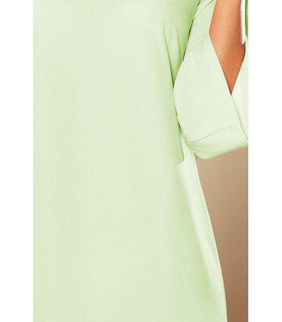190-9 MARGARET sukienka z koronką na rękawkach - PISTACJA