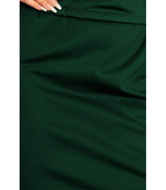 161-12 AGATA - Sukienka z kołnierzykiem - ZIELEŃ BUTELKOWA