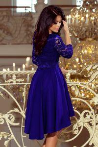 210-4 NICOLLE - sukienka z dłuższym tyłem z koronkowym dekoltem - CHABROWA