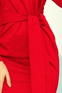 209-6 Sukienka z szerokim wiązanym PASKIEM - CZERWONA
