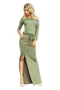 220-1 MAXI sukienka sportowa z rozcięciem - kolor oliwkowy