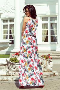 191-4 Sukienka MAXI wiązana na szyi z rozcięciem - KWIATY NA BIAŁYM TLE