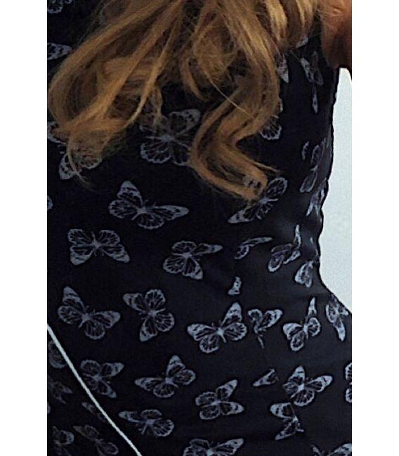 MM 004-8 Sukienka z lamówką - CZARNA w białe motylki