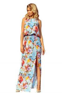 191-5 Sukienka MAXI wiązana na szyi z rozcięciem - KWIATY na błękitnym tle