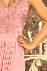 215-3 LEA długa suknia bez rękawków z haftowanym dekoltem - PUDROWY RÓŻ