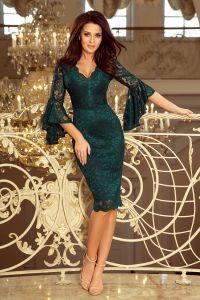 234-2 Koronkowa sukienka z rozkloszowanymi rękawkami - ZIELEŃ BUTELKOWA