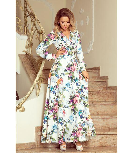 245-1 Sukienka MAXI z falbanką i dekoltem - kolorowe róże i niebieskie ptaszki