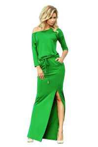 220-7 MAXI sukienka sportowa z rozcięciem - ZIELONA