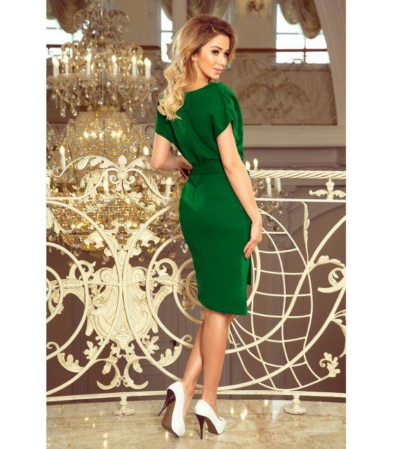 240-1 ROXI sukienka z asymetryczną spódnicą i paskiem - ZIELONA