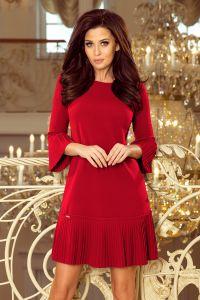 228-4 LUCY - plisowana wygodna sukienka - BORDOWA