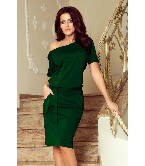 249-2 CASSIE sukienka z krótkim rękawkiem - ZIELEŃ BUTELKOWA