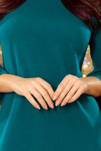 228-5 LUCY - plisowana wygodna sukienka - NIEBIESKA