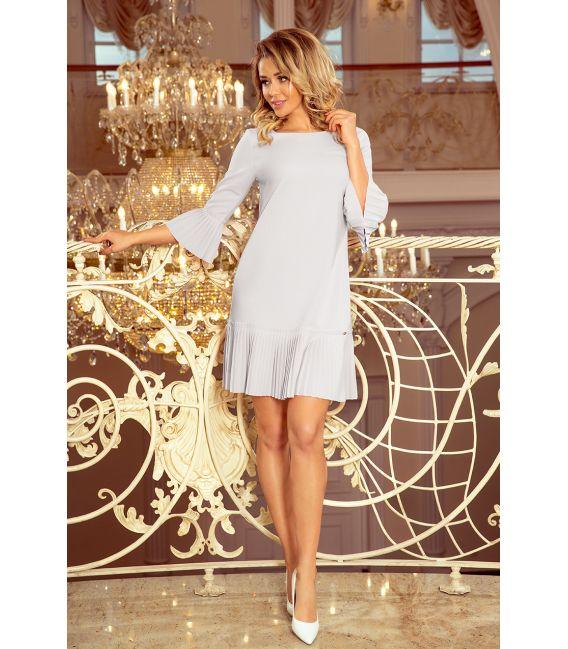 228-6 LUCY - plisowana wygodna sukienka - SZARA