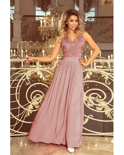 215-5 LEA długa suknia bez rękawków z haftowanym dekoltem - TAUPE