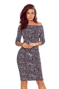 13-107 Sukienka sportowa z wiązaniem - napisy + czarny