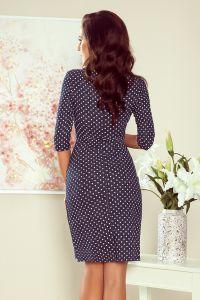 255-1 IRIS Sukienka z zakładkami - JEANS W KROPKI