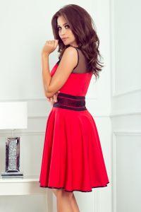 261-1 RICA Sukienka z tiulowymi wstawkami - CZERWONA