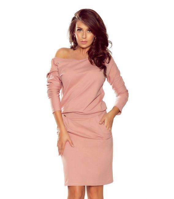 189-7 Sukienka dresowa z dekoltem na plecach - PUDROWY RÓŻ