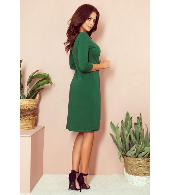 255-2 IRIS Sukienka z zakładkami - ZIELONA