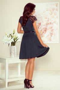 254-1 SILVIA Sukienka z koronkowymi wstawkami - ZIELONA