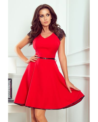254-2 SILVIA Sukienka z koronkowymi wstawkami - CZERWONA