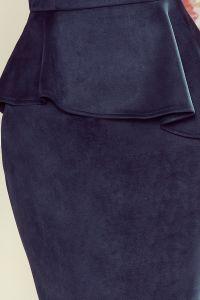 192-9 Elegancka sukienka MIDI z baskinką - ZAMSZ GRANATOWY