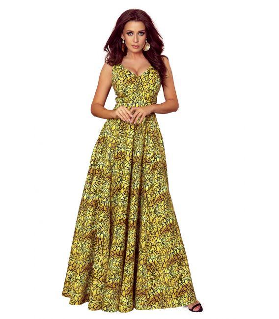 246-2 CINDY długa suknia z dekoltem - ZŁOTY + CZARNY