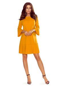 228-7 LUCY - plisowana wygodna sukienka - MUSZTARDA