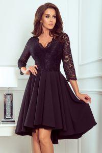 210-10 NICOLLE - sukienka z dłuższym tyłem z koronkowym dekoltem - CZARNA