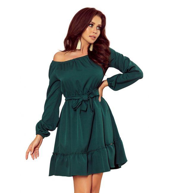265-1 DAISY Sukienka z falbankami - ZIELONA
