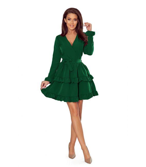 272-1 MIA Sukienka z kopertowym dekoltem - FUKSJA