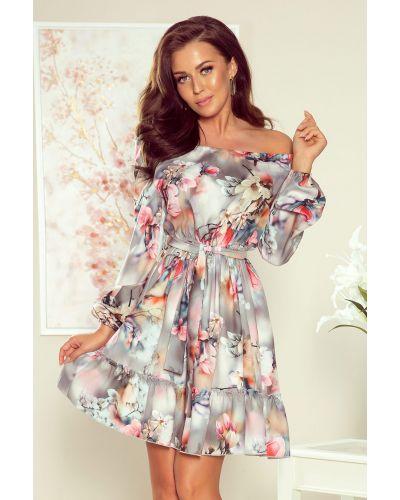 265-3 DAISY Sukienka z falbankami - KWIATY na szarym tle