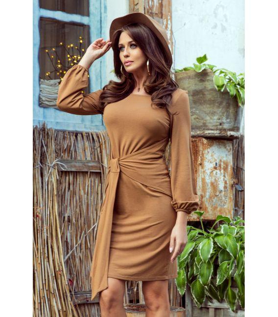 275-1 JENNY Wygodna sukienka z wiązaniem w pasie - KARMELOWA