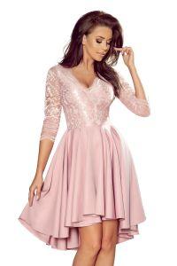 210-11 NICOLLE - sukienka z dłuższym tyłem z koronkowym dekoltem - PUDROWY RÓŻ