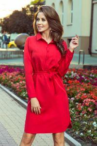 284-1 CAMILLE Koszulowa sukienka z wiązaniem - CZERWONA