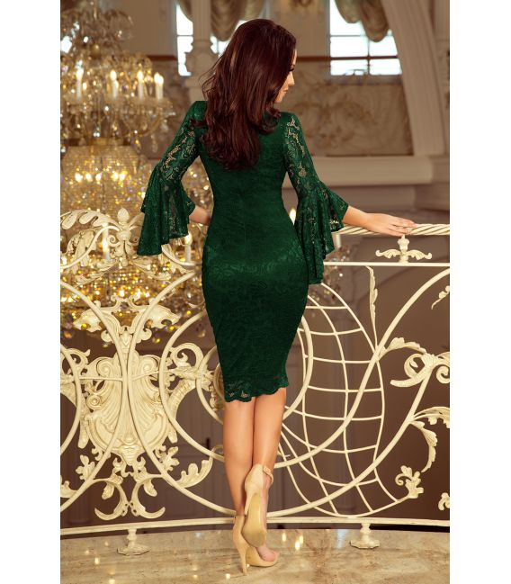 234-3 Koronkowa sukienka z rozkloszowanymi rękawkami - CIEMNY ZIELEŃ