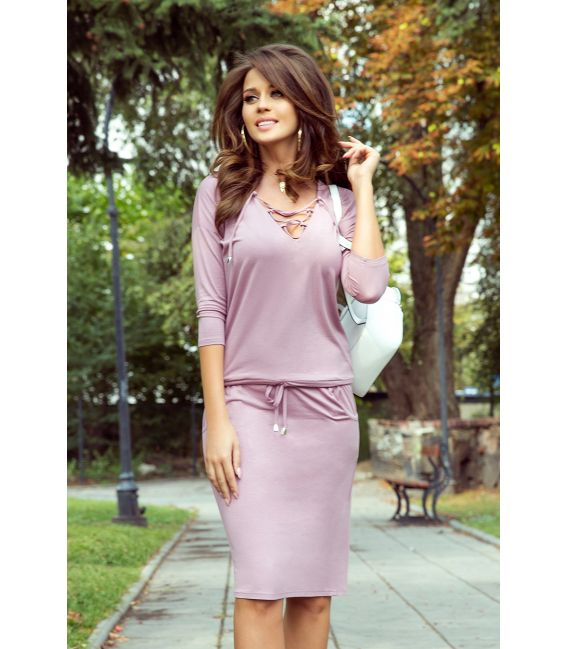 230-5 JANET Sukienka z wiązanym dekoltem - PUDROWY RÓŻ