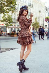 285-1 ROMI sukienka z falbankami - PANTERKA