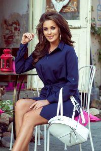 288-1 Koszulowa sukienka z guzikami - GRANATOWA