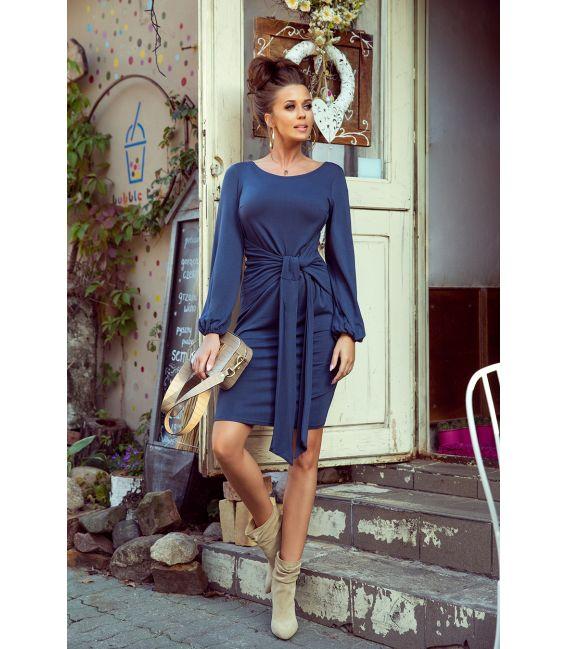 275-2 JENNY Wygodna sukienka z wiązaniem w pasie - JEANS