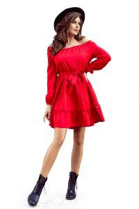 265-4 DAISY Sukienka z falbankami - CZERWONA