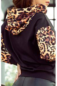 279-2 Bluza kangurka z kapturem - czarna z panterkowymi wstawkami