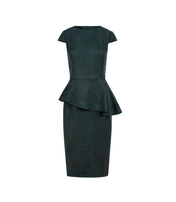 192-10 Elegancka sukienka MIDI z baskinką - ZAMSZ - ZIELEŃ BUTELKOWA