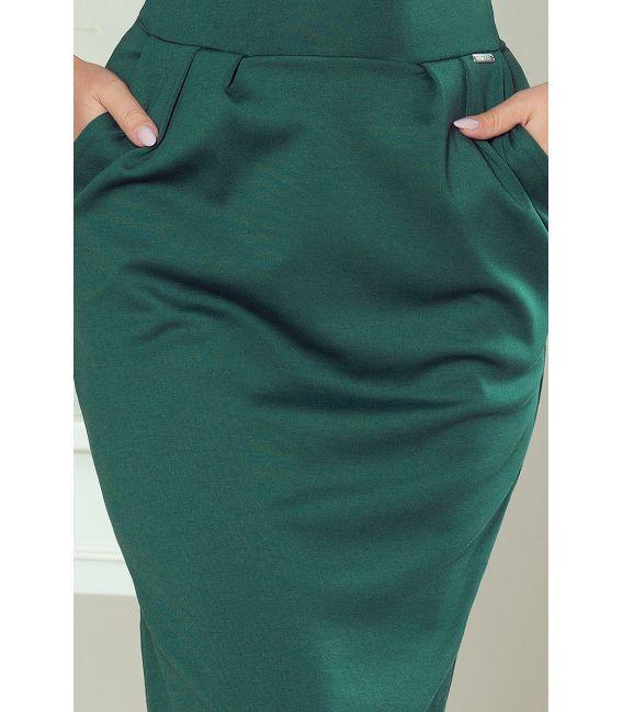 144-8 Sukienka midi SARA z podwyższonym stanem - ZIELEŃ BUTELKOWA