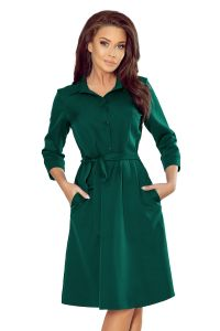 286-1 SANDY Koszulowa rozkloszowana sukienka - ZIELEŃ BUTELKOWA